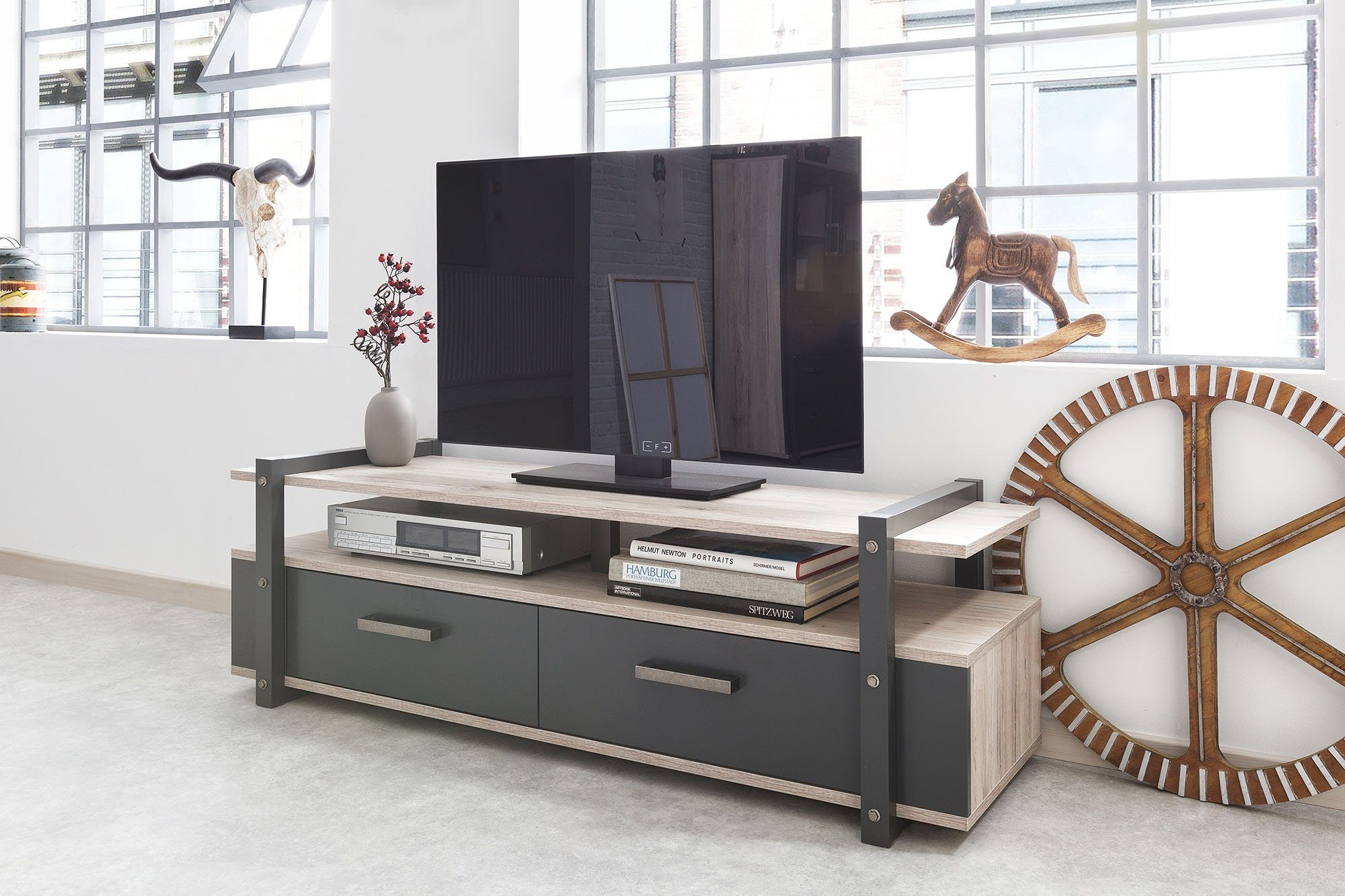 Tv Board Industrial Newroom Lowboard »robin« Eiche Sorrento Tv Board Vintage Industrial Tv Lowboard Highboard Anrichte Wohnzimmer Schlafzimmer Online Kaufen Newroom Tv Boards, - Komnit Store