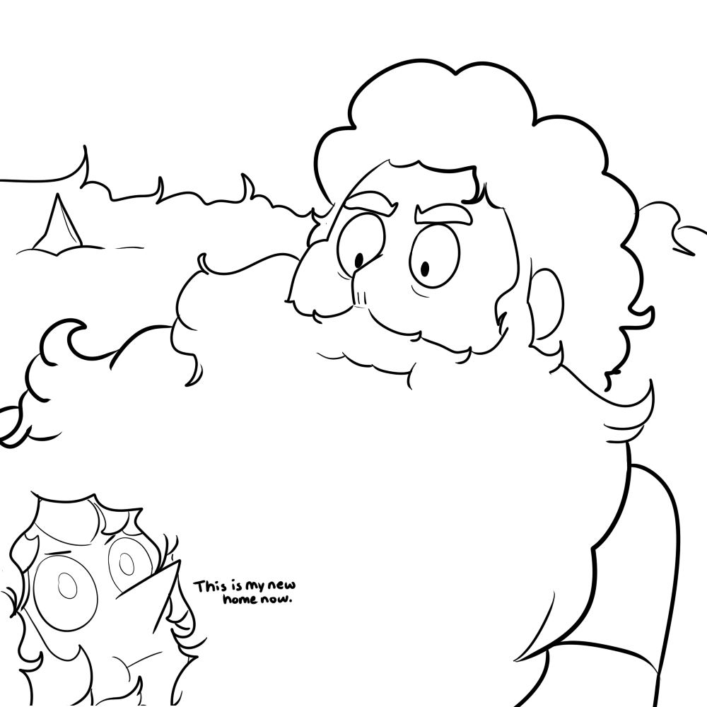 Adult Steven grows a beard so large, so magnificent and it