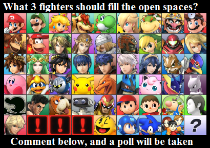 Which Three Should Be DLC Super Smash Brothers Know