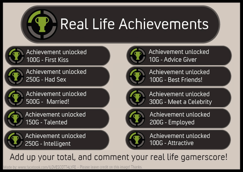 Real Life Achievements  Fake XBOX 360 Achievements  Know