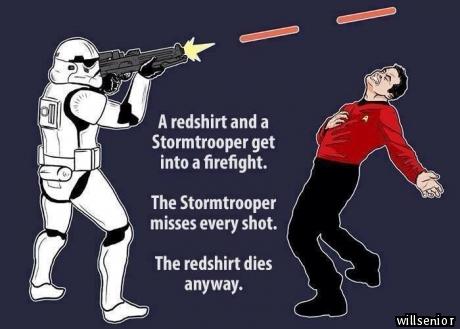 Image result for stormtrooper vs red shirt