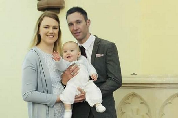Emma Dutton is pictured with her partner, Mark Prince, and son, Oliver