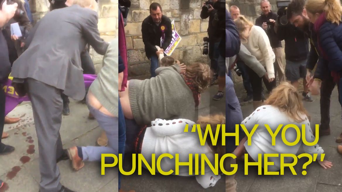 Video thumbnail, Fight breaks out outside UKIP meeting