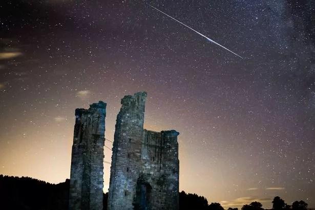 Perseid meteor shower above Edlington Castle