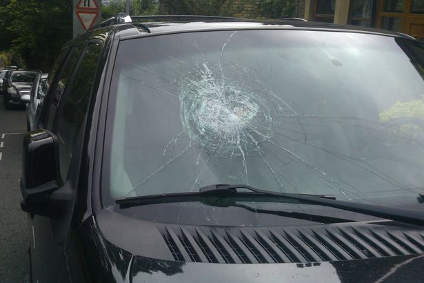 Damage left to the windscreen of Nissar Hussain's car