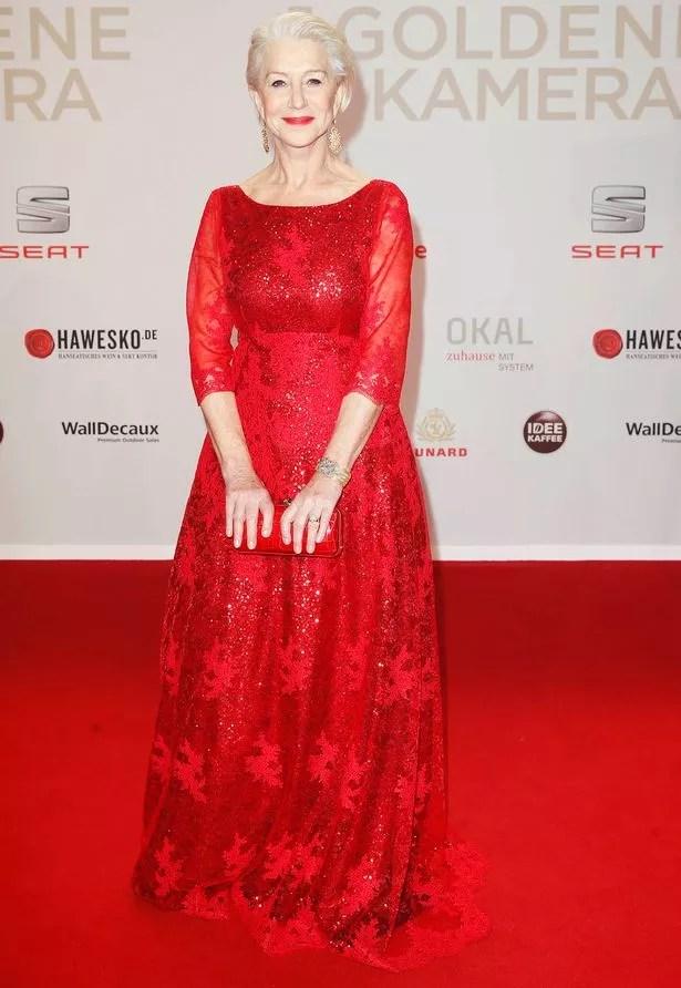 Helen Mirren arrives at the 'Die Goldene Kamera' (Golden Camera) awards ceremony in Hamburg