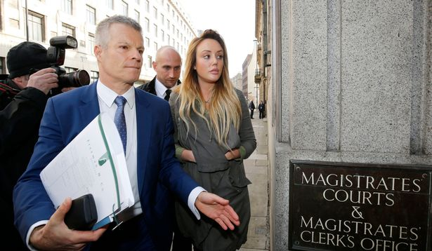 Reality TV star Charlotte Crosby and solicitor Nick Freeman arriving at Newcastle Magistrates' Court where she is charged with drink-driving
