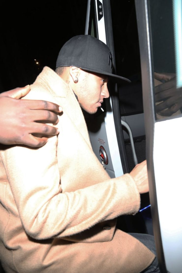 Neymar leaving The PFA Awards after party held at Libertine's night club in London