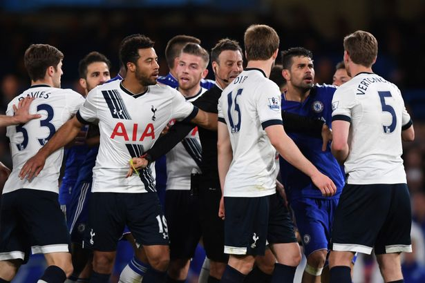 A scuffle breaks out after Eric Dier brings down Eden Hazard