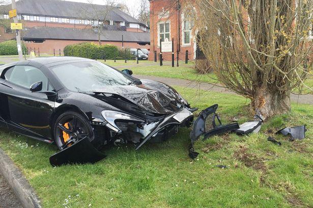 PAY-McLaren-650S-Spider-crash Motorist crashes £200,000 Mclaren supercar into a tree minutes after it's delivered to his home