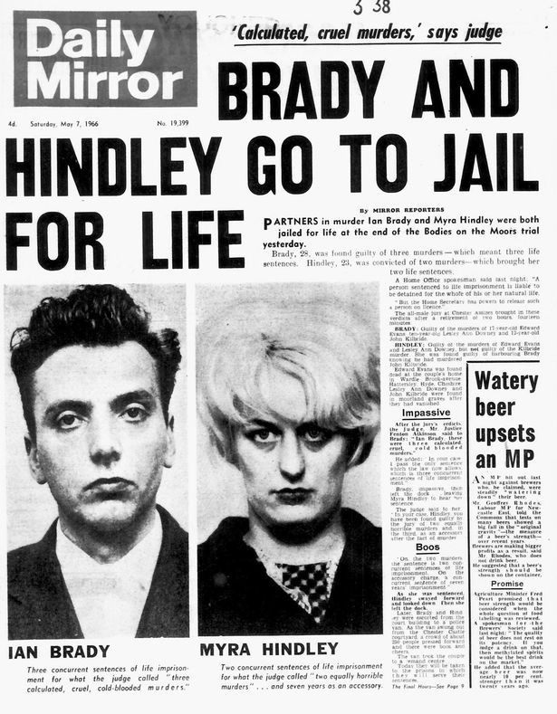 Daily Mirror Front Page Ian Brady and Myra Hindley go to jail for life