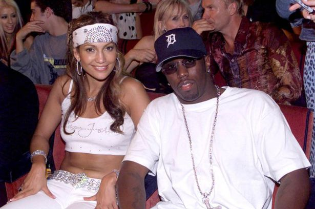 "Jennifer Lopez and then-beau Sean ""Diddy"" Combs at the 2000 VMAs"