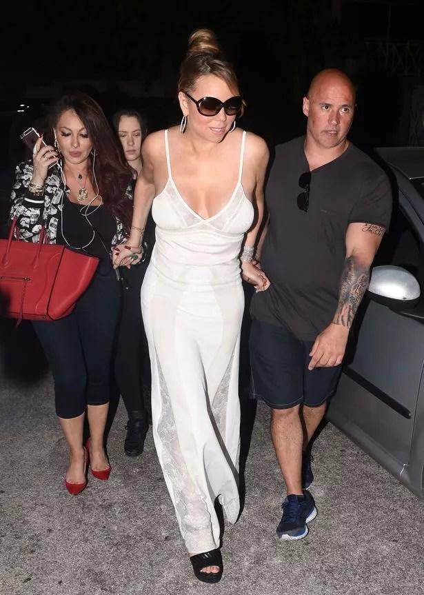 Mariah Carey is seen late night shopping in Saint Tropez