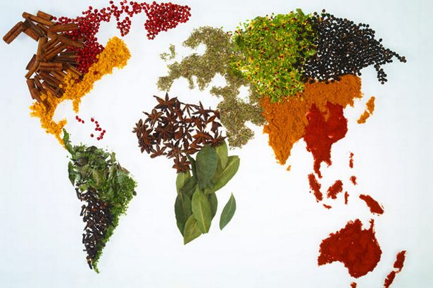 World map with spices and herbs (Pic: Getty)