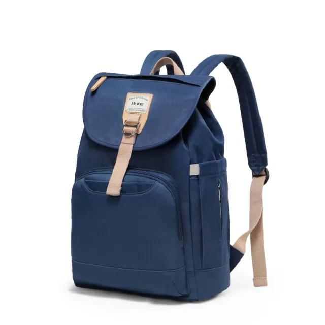 【Heine 海恩】WIN-212 後背包 媽媽包 媽咪包 防盜防潑水 背包 女包 包包 束口包 靛藍(收納 旅行包 贈掛勾)
