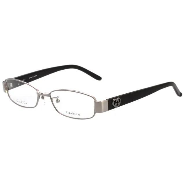 【GUCCI 古馳】-日廠純鈦 光學眼鏡(銀色)
