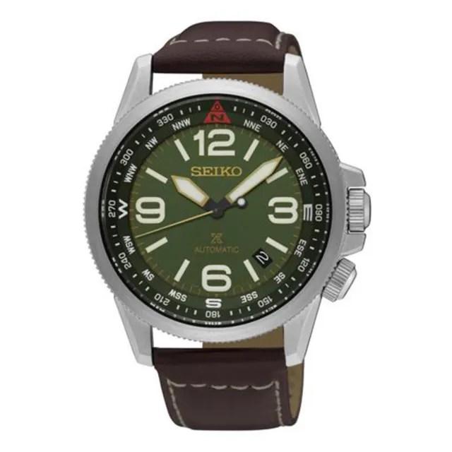 【SEIKO精工】夜光紳士風綠色錶盤不鏽鋼錶殼男士手錶(SRPA77K)
