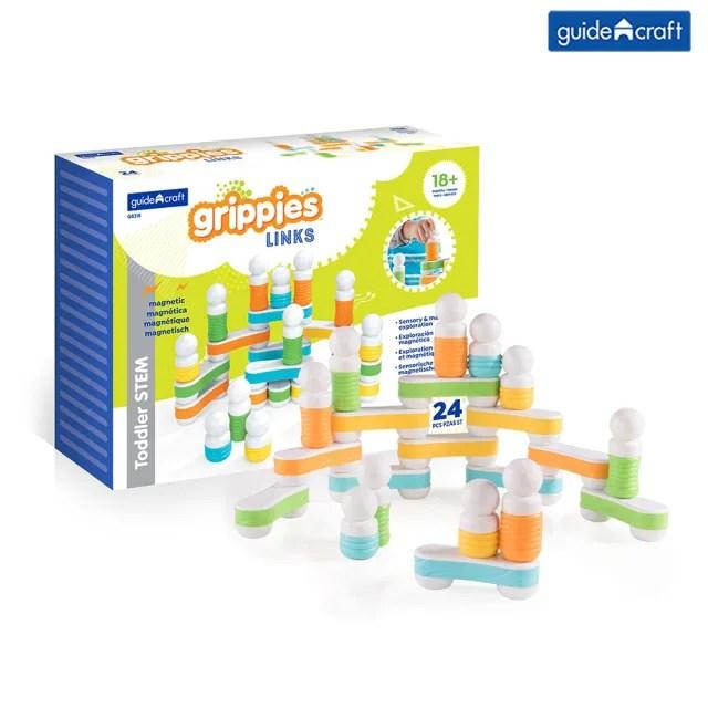 【GuideCraft】觸覺磁力連結積木-24件(STEAM玩具)