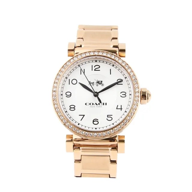 【COACH】馬車 LOGO懷舊時尚不鏽鋼帶女錶腕錶32mm(14502398 玫瑰金)