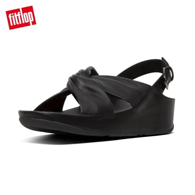【FitFlop】TWISS LEATHER BACK-STRAP SANDALS 時尚扭結後帶涼鞋-女(黑色)