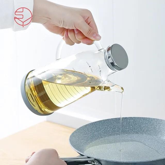 【SHIMOYAMA 日本霜山】高透耐熱防漏不鏽鋼蓋玻璃油壺-750ml(油罐/醬料/調味料/沙拉醬)