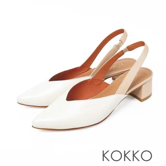 【KOKKO 集團】優雅尖頭後帶真皮粗跟鞋(椰奶白)