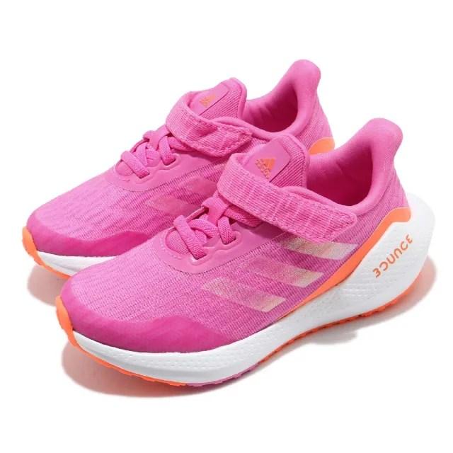 【adidas 愛迪達 】童鞋 慢跑鞋 EQ21 Run EL   愛迪達 三線 運動 魔鬼氈 中童 粉 白(FX2255)