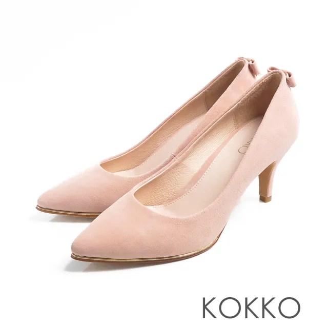 【KOKKO】幸福預兆蝴蝶結水鑽羊皮高跟鞋(柔美粉)