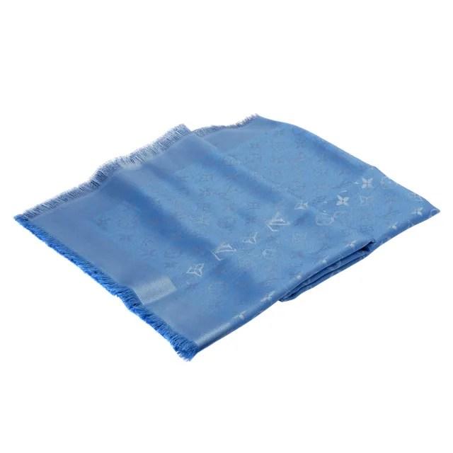 【Louis Vuitton 路易威登】M75697 經典Monogram花紋羊毛混絲披肩/絲巾(藍)