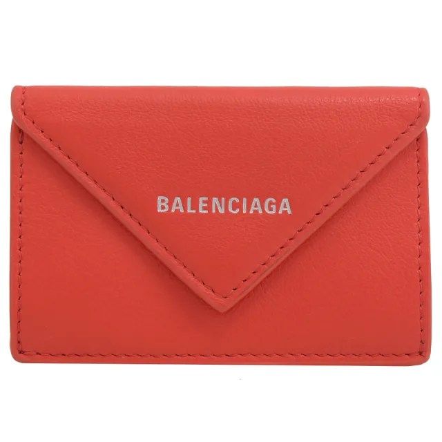【Balenciaga 巴黎世家】經典烙印LOGO小牛皮三折簡式小短夾(紅)