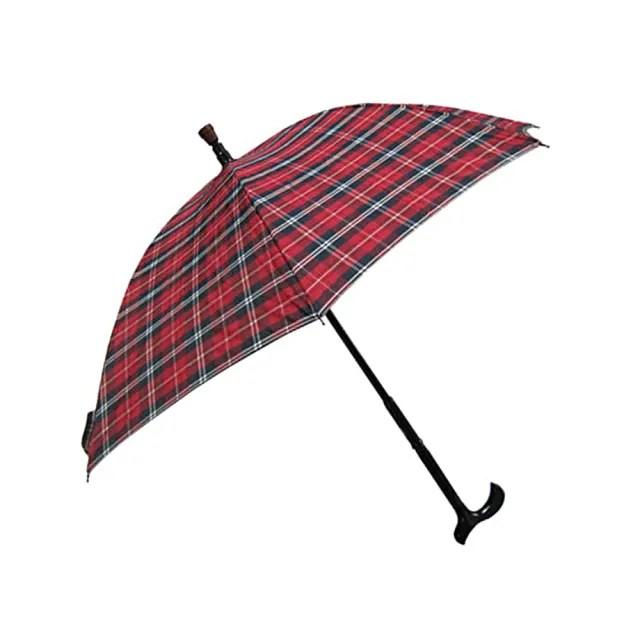 【Weiyi】分離式防風手杖傘 - 聖誕紅格(傘與杖可分離使用)