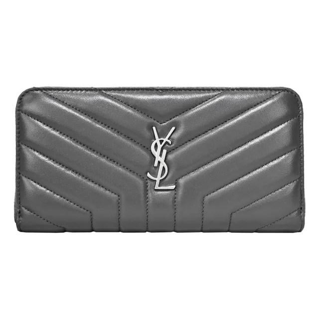 【YSL】Saint Laurent Monogram 皮革衍縫拉鍊長夾(銀x灰)