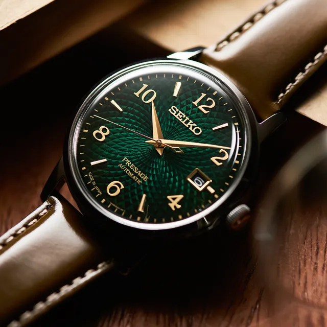 【SEIKO 精工】PRESAGE 調酒師扭索紋動力儲存機械錶-38.5mm/綠(4R35-04A0G/SRPE45J1)