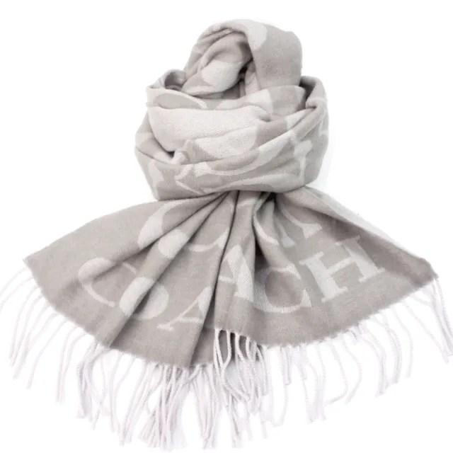 【COACH】義大利製大C LOGO 羊毛寬版大披肩圍巾(淺灰)