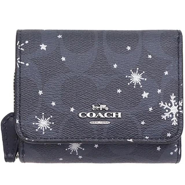 【COACH】雪花x午夜藍PVC三折零錢袋短夾