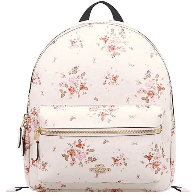 【COACH】白X玫瑰花束PVC中款後背包