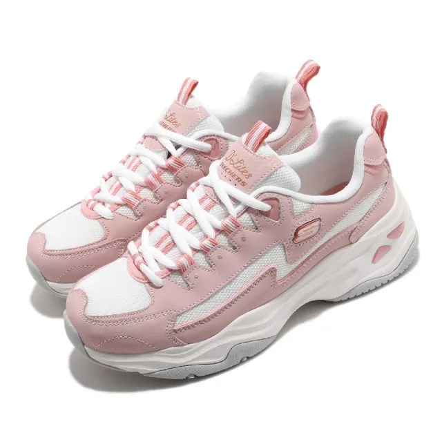 【SKECHERS】休閒鞋 D Lites 4.0 厚底 女鞋 老爹鞋 膠底 防滑 穩定 修飾腿型 白 粉(149491ROS)