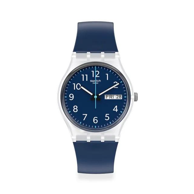 【SWATCH】Gent 原創系列手錶RINSE REPEAT NAVY 海洋藍(34mm)