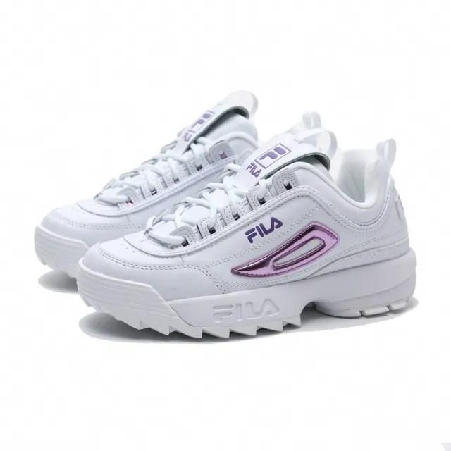 【FILA】休閒鞋 DISRUPTOR 2 白皮革 雷射紫LOGO 復古 鋸齒鞋 老爹鞋 女(5C608U153)
