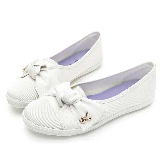 【PLAYBOY】微甜幸福 可愛蝴蝶結亮蔥便鞋-白-Y620511