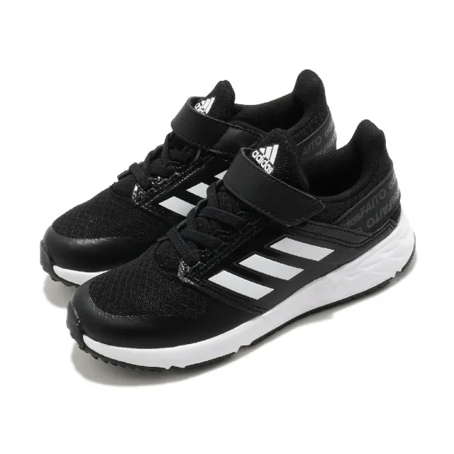 【adidas 愛迪達 】童鞋 休閒鞋 FortaFaito EL K   愛迪達 魔鬼氈 運動鞋 基本款 中大童 黑 白(FX0940)