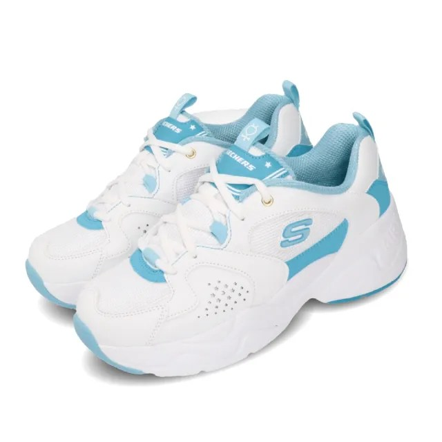 【SKECHERS】休閒鞋 D Lites 2 美少女戰士 女鞋 老爹鞋 厚底 水星仙子 水野亞美 白 藍(66666267WLB)