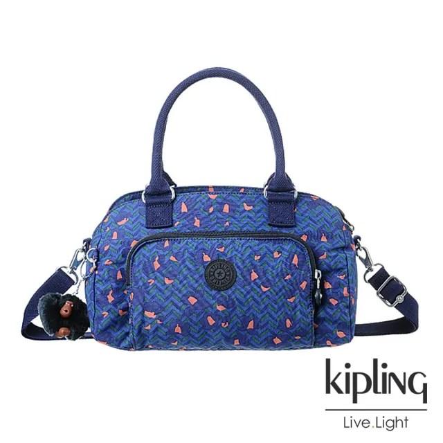【KIPLING】絢麗花卉孔雀藍手提肩背兩用包-ALECTO