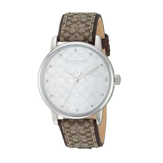 【COACH】銀白色c logo錶面經典咖啡織紋布c logo錶帶時尚腕錶(885997331128)
