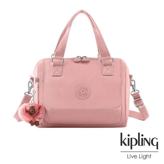 【KIPLING】玫瑰石英粉翻蓋手提側背包-ZEVA