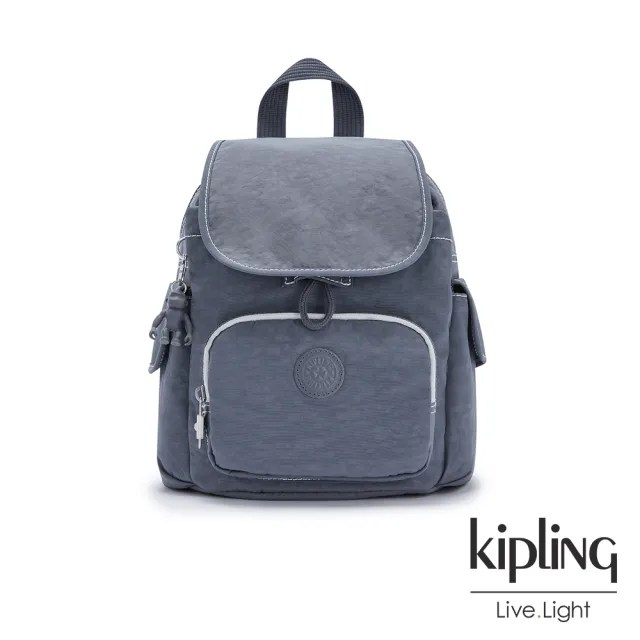 【KIPLING】復古海軍藍拉鍊掀蓋後背包-CITY PACK MINI