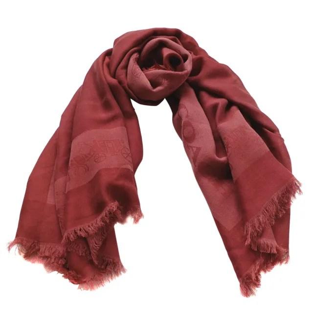 【COACH】素面邊框馬車圖印方型圍巾(磚紅色/112x112CM)