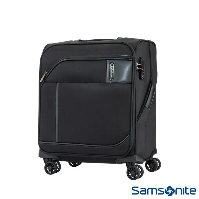【Samsonite 新秀麗】18吋Janik商務功能性飛機輪TSA布面登機箱 黑(AW7)