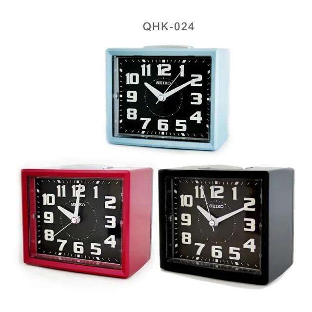 【SEIKO 精工】QHK024 長方型夜光靜音貪睡鬧鐘/時尚設計擺飾鬧鐘