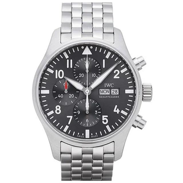 【IWC 萬國錶】飛行員計時鍊帶表x黑色x43mm(IW377710)